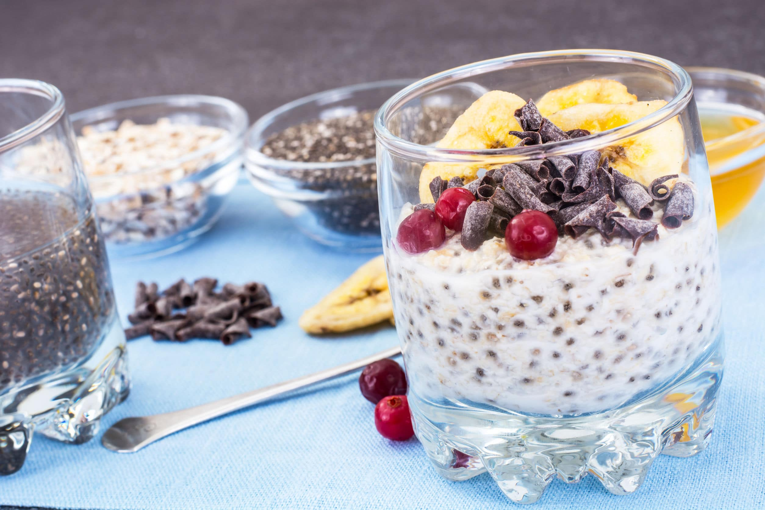 Overnight Oats with Chia Seeds, Cranberries and Cocoa Nibs