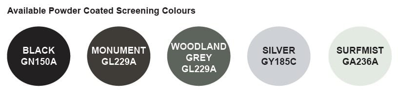 Powder Coated Screening Colours
