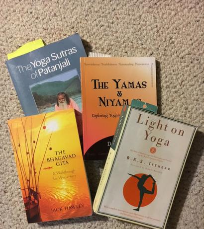Yoga-related books: Yoga sutras, yamas & niyamas, Light on Yoga, Gita