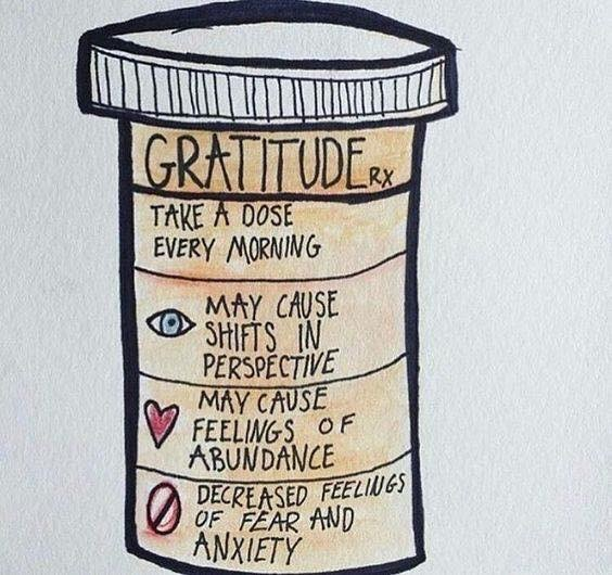 A prescription bottle with the words: Gratitude Rx: Take a dose every morning; may cause shifts in perspective; may cause feelings of abundance; decreased feelings of fear and anxiety.