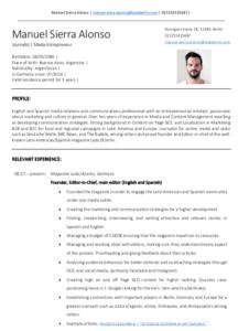 CV - Manuel Sierra Alonso - Como conseguir trabajo en Berlin - Lado B erlin