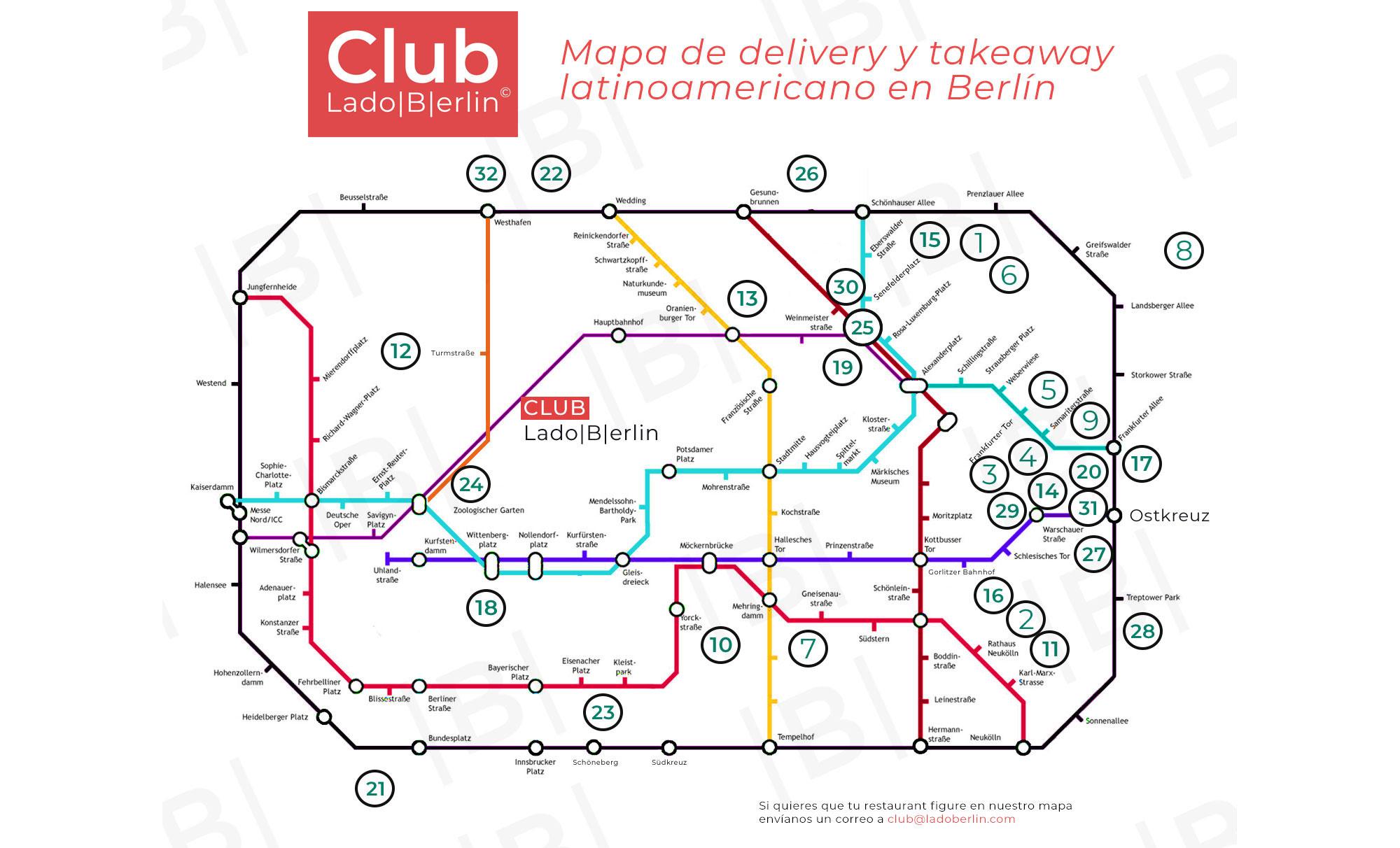 Mapa Restaurantes Latinoamericanos de Berlín. Club Lado|B|erlin©
