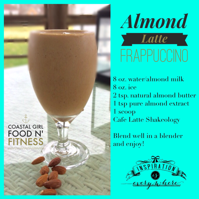 Almond Latte Frappuccino! I love the flavor of almond and this shakeology recipe has it all!