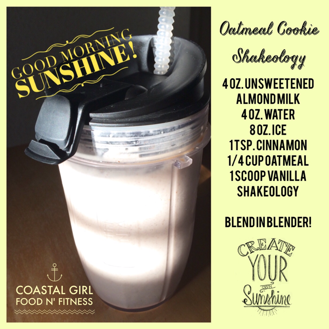 If you love oatmeal cookies you will love this Shakeology recipe ! With oatmeal and cinnamon added to vanilla Shaleology it tastes like an oatmeal cookie in a glass!