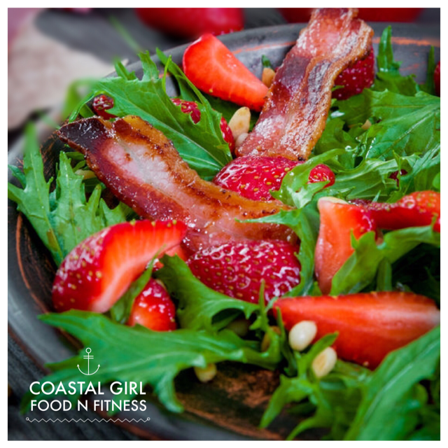 Bacon isn't just for breakfast! Try this healthy strawberry bacon salad!