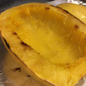 Spaghetti Squash, cleaned and baked!
