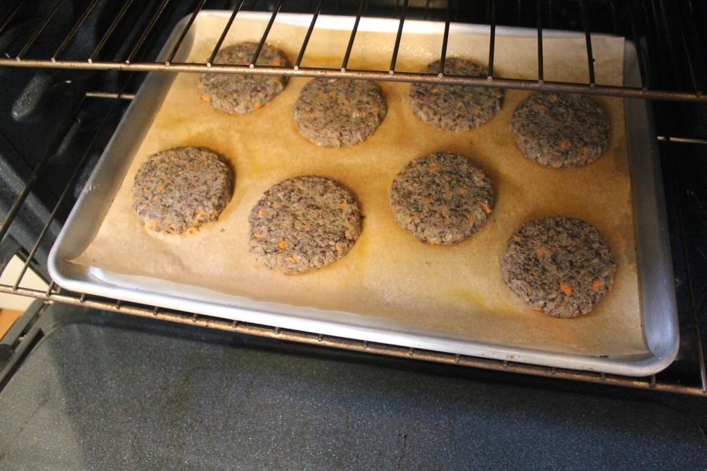 gluten free vegetarian lentil burgers in oven