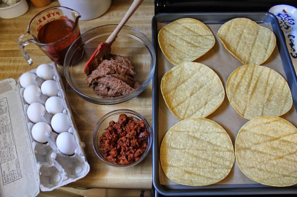 Ingredients for individual huevos rancheros gluten free