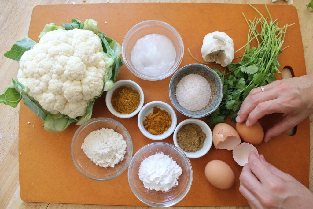 Ingredients for gluten free cauliflower fritters
