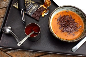 pumpkin soup with chocolate & chipotle