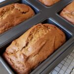 gluten free pumpkin bread in a 4 loaf pan