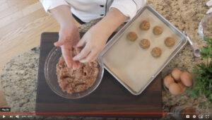 Overhead image of chef making gluten free meatballs