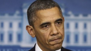 Photo of Barak H. Obama with an unhappy look on his face