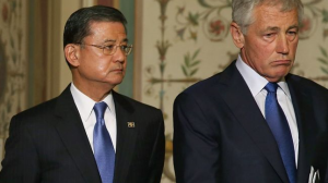 Defense Secretary Chuck Hagel (R) and VA Secretary Eric Shinseki (L), stand next to one another at a news conference on Capitol Hill May 22, 2013 in Washington DC.
