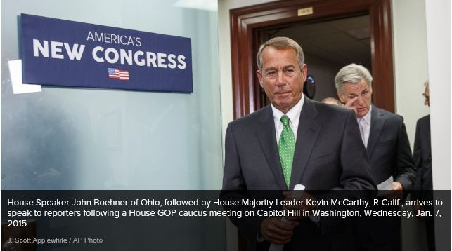 {hoto of House Speaker John Boehner and Majority Leader Kevin McCarthy as they enter to hold a press conference on morning of Wednesday, 01072015