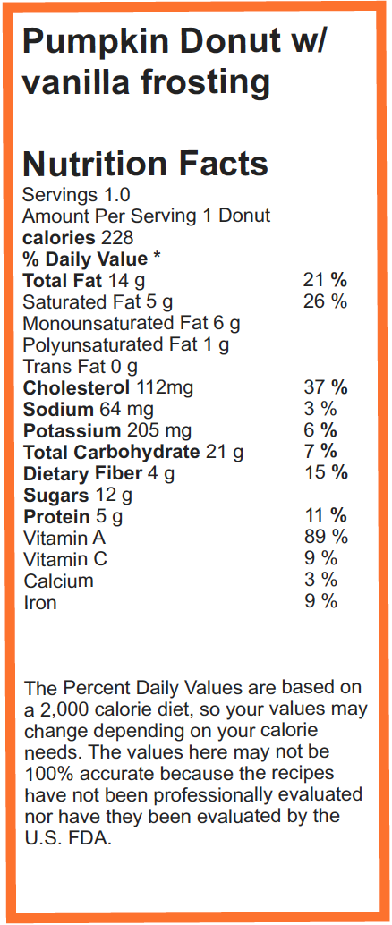 Paleo Pumpkin Donut _ Nutrition Facts