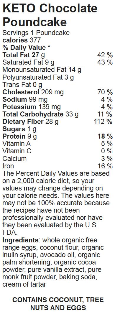 Nutritional Facts Keto Paleo Chocolate Poundcake