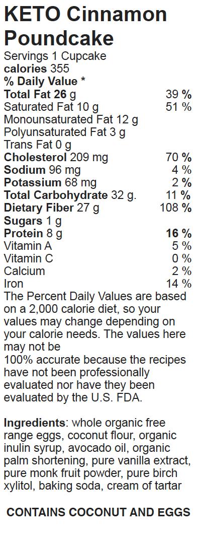 Nutritional Facts Keto Paleo Cinnamon Poundcake