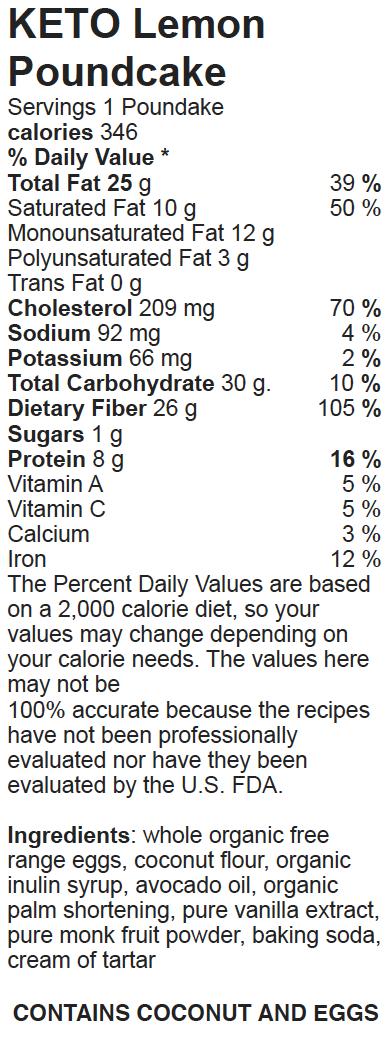 Nutritional Facts Keto Paleo Lemon Poundcake