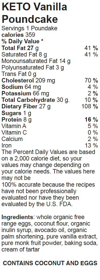 Nutritional Facts Keto Paleo Vanilla Poundcake_Snackin' Free