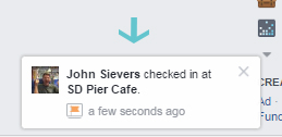 Facebook restaurant check-in