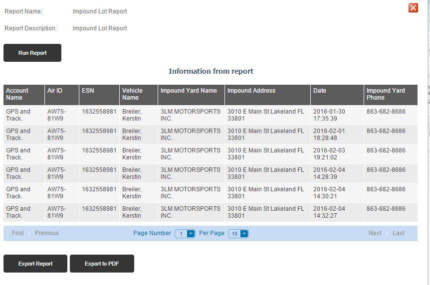 Impound lot alert - vehicle tracker