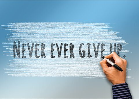 Writing: Never Give In