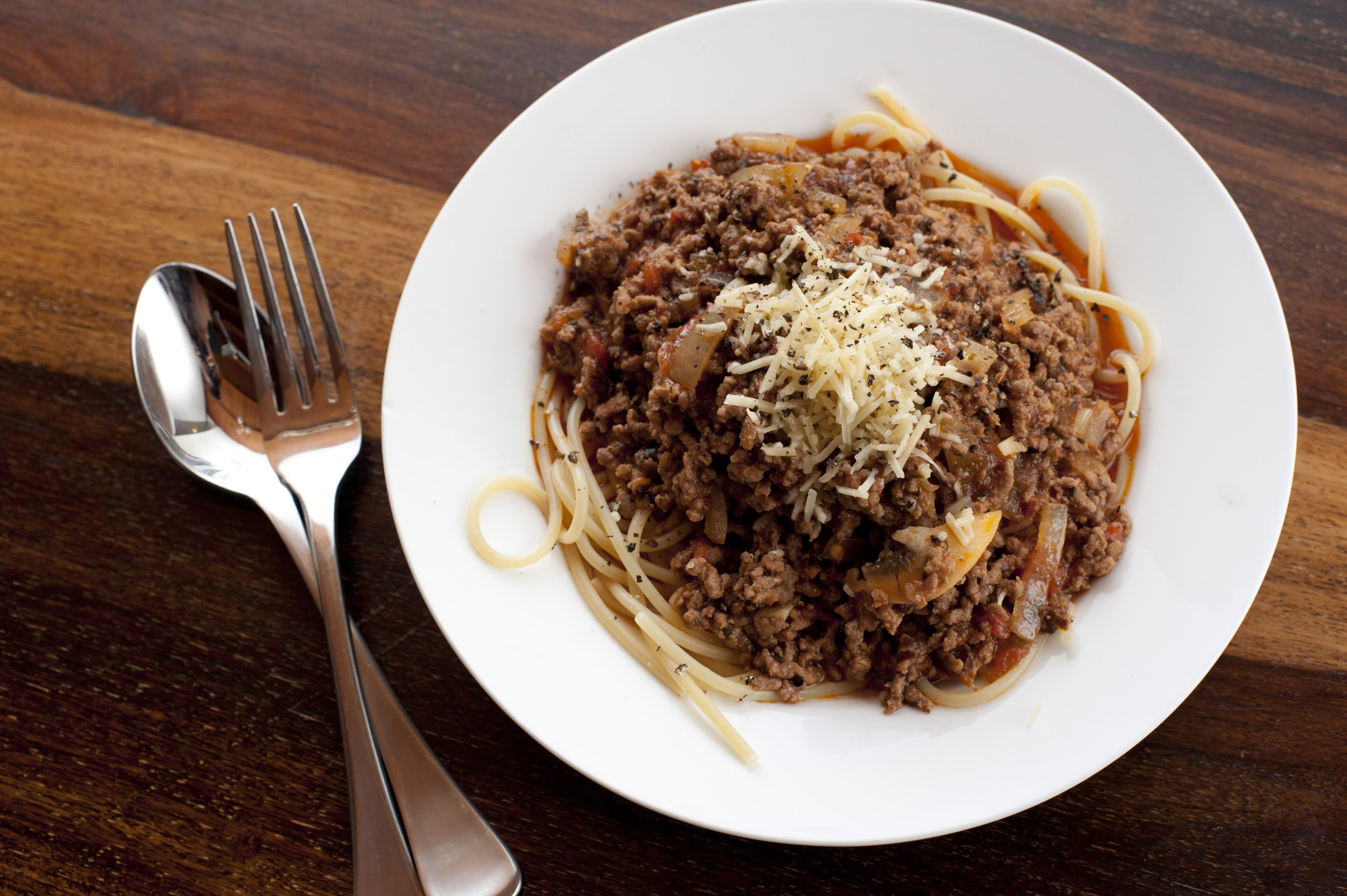 Overhead view of spaghetti bolognese