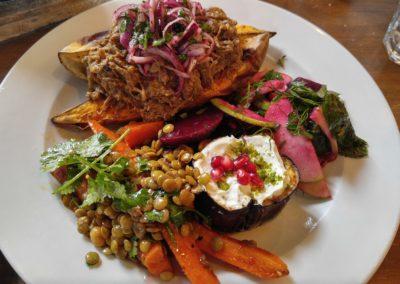 Smoked lamb, beet salad, roasted eggplant, lentil and  salad