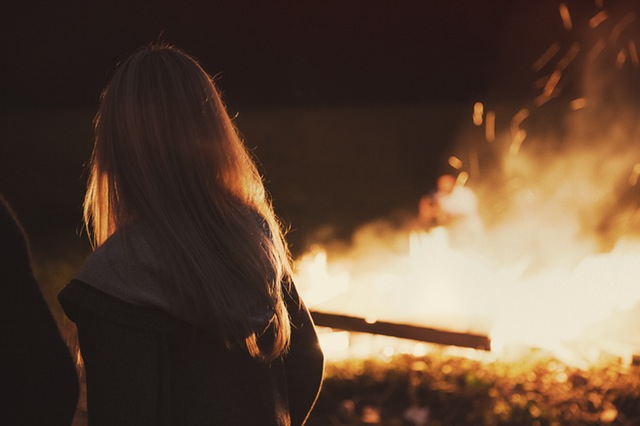 person-woman-night-fire