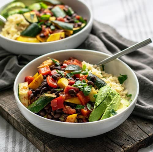 Bowl of Vegan Loaded Vegetable Beans and Rice