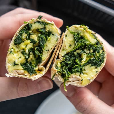 Spinach, Egg, and Cheese Breakfast Burritos