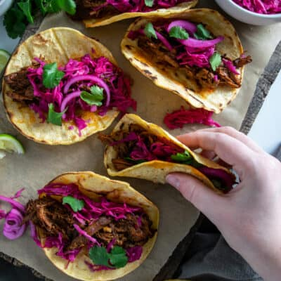 Beef Barbacoa with Pickled Red Onion and Cabbage