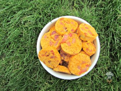 (wheat and gluten-free) cheesy sweet potato ham dog treat/biscuit recipe
