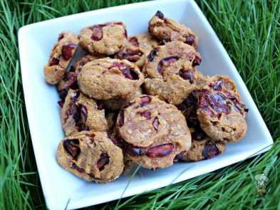 (wheat and dairy-free, vegan, vegetarian) cherry pumpkin dog treat/biscuit recipe
