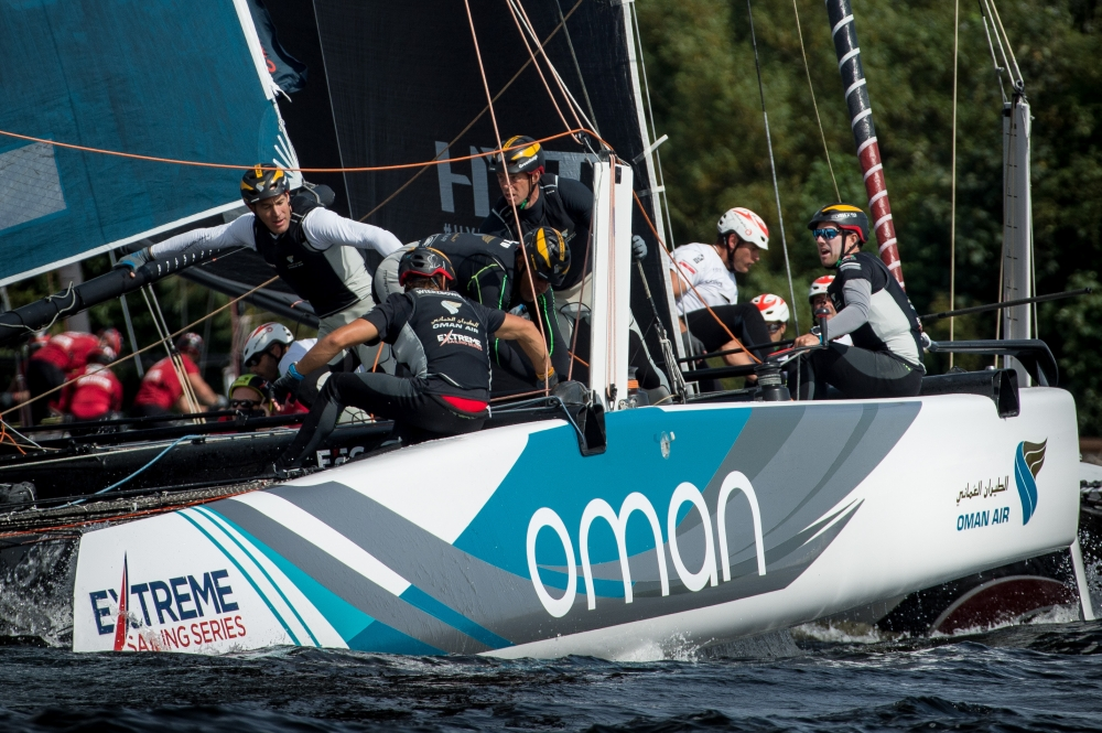 Oman Air takes a race win to stay third as Extreme Sailing Series produces up and down day in Cardiff