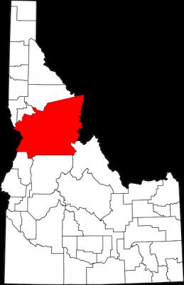 Map of Idaho Highlighting Idaho County