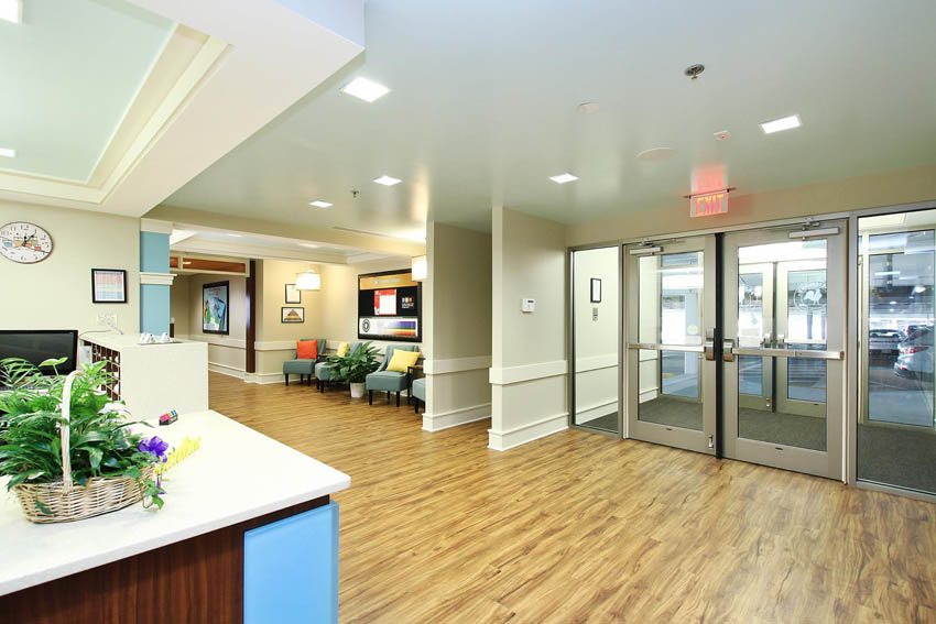 LED Lights, square recessed lighting, daycare lobby, avonite, aqua ceiling, blue ceiling, childcare design, child care design, child care centre design, child care interior design, child care architect daycare design, day care center design,