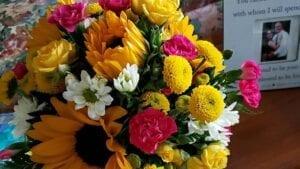 Garland Sandy Kelso Memorial flowers