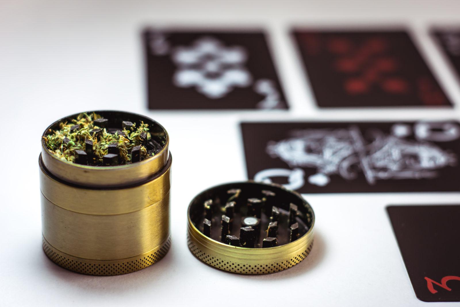 cannabis grinder in gold
