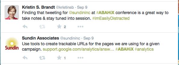 KristinSB and SundinInc #ABAHiX tweets