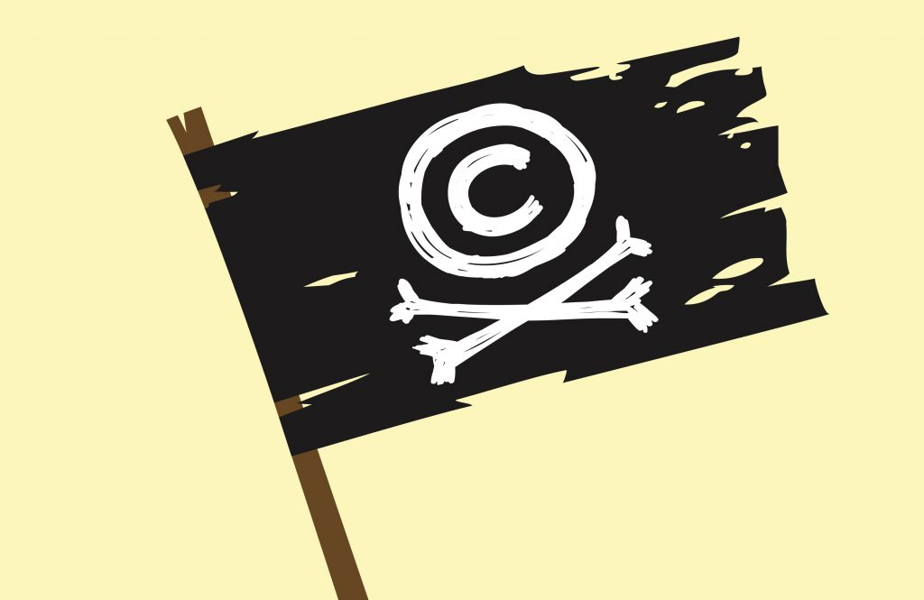 Copyright pirate jolly roger.
