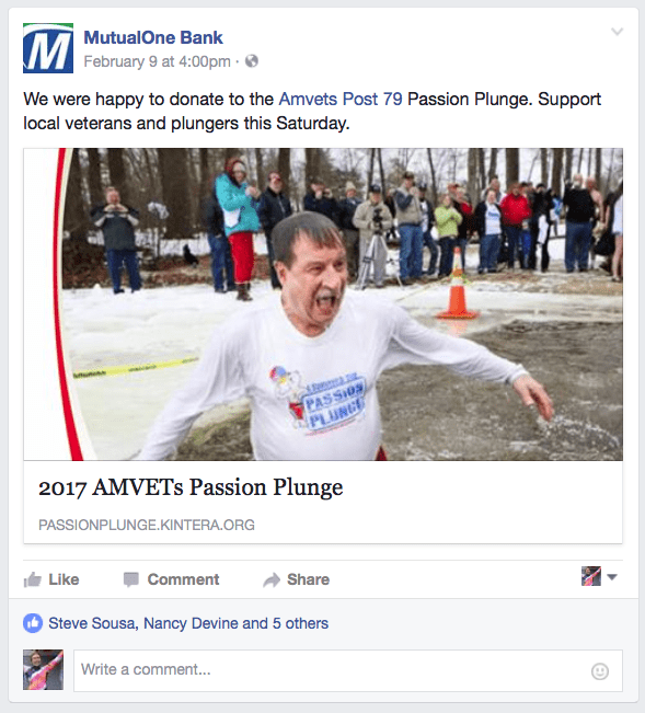 Facebook post: We are happy to donate to the Amvets Post 79 Pasion Plunge.