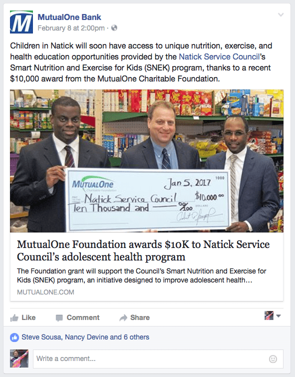 MutualOne Bank Foundaiton Award Announcement