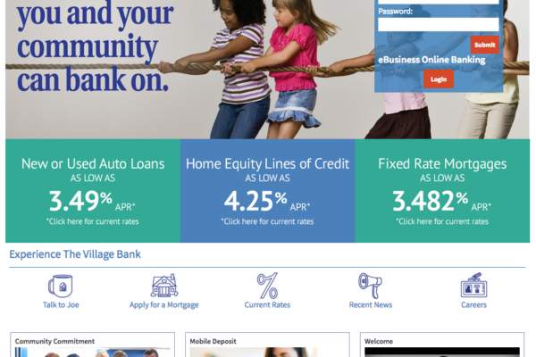 The home page includes a rate slider, custom icons and easy account access.