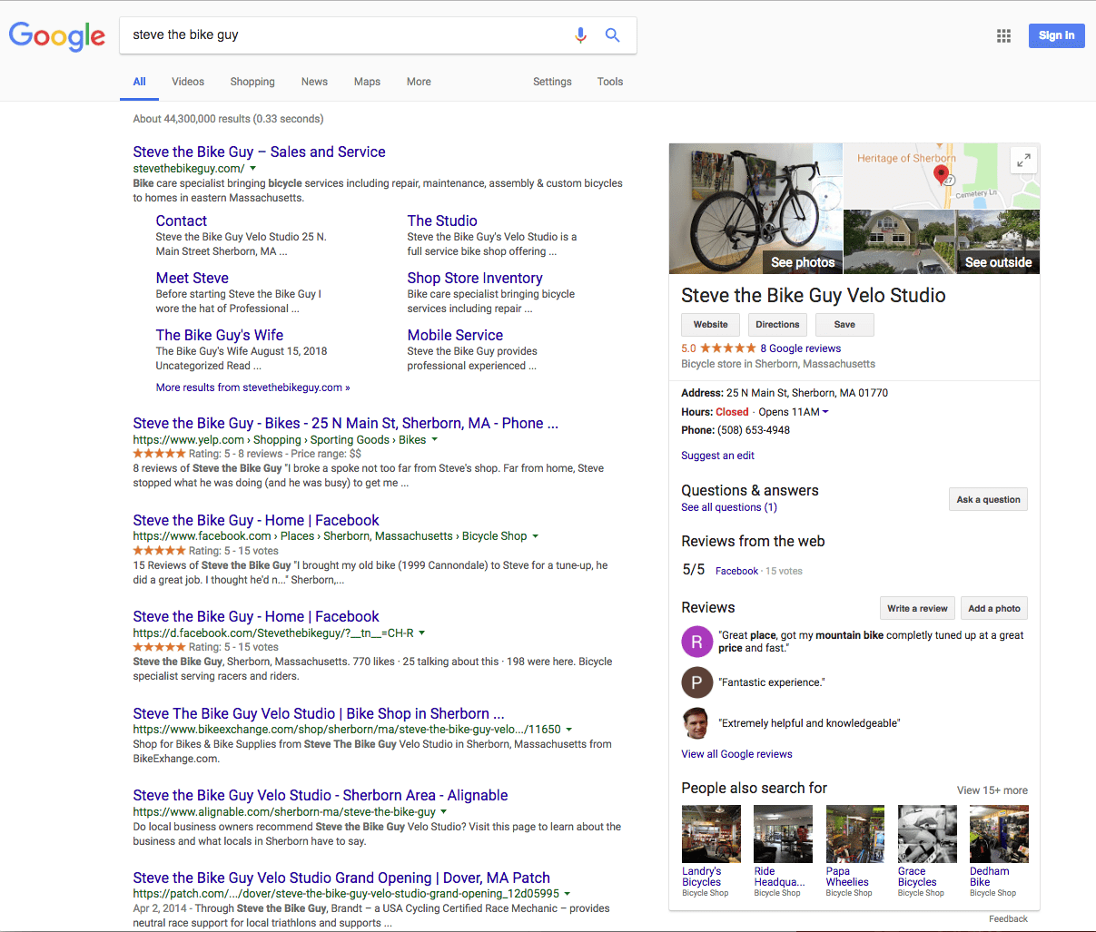 Steve the Bike Guy listing with Google Business showing on right.