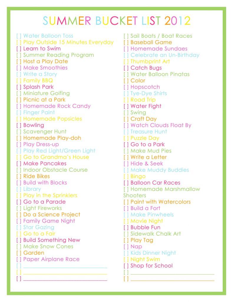 Summer Bucket List 2012 – 76 Summer Activities for Kids