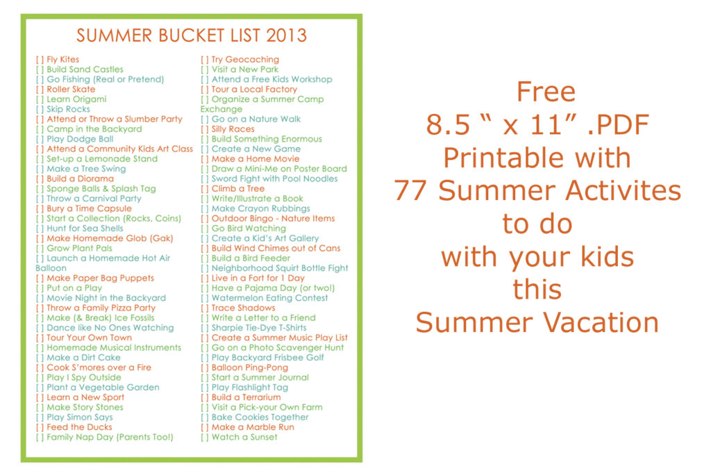 Summer Bucket List for Kids 2013