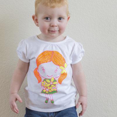 DIY Stenciled Flower Girl Shirt