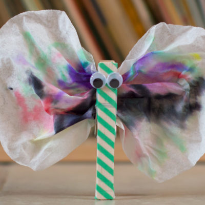 Tie Dye Coffee Filter and Washi Tape Butterfly